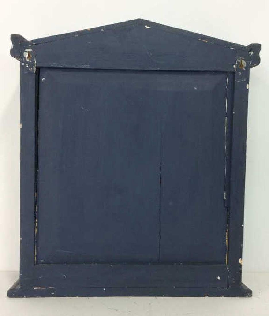Navy Toned Wooden Trinket Case Cabinet W Window - 7