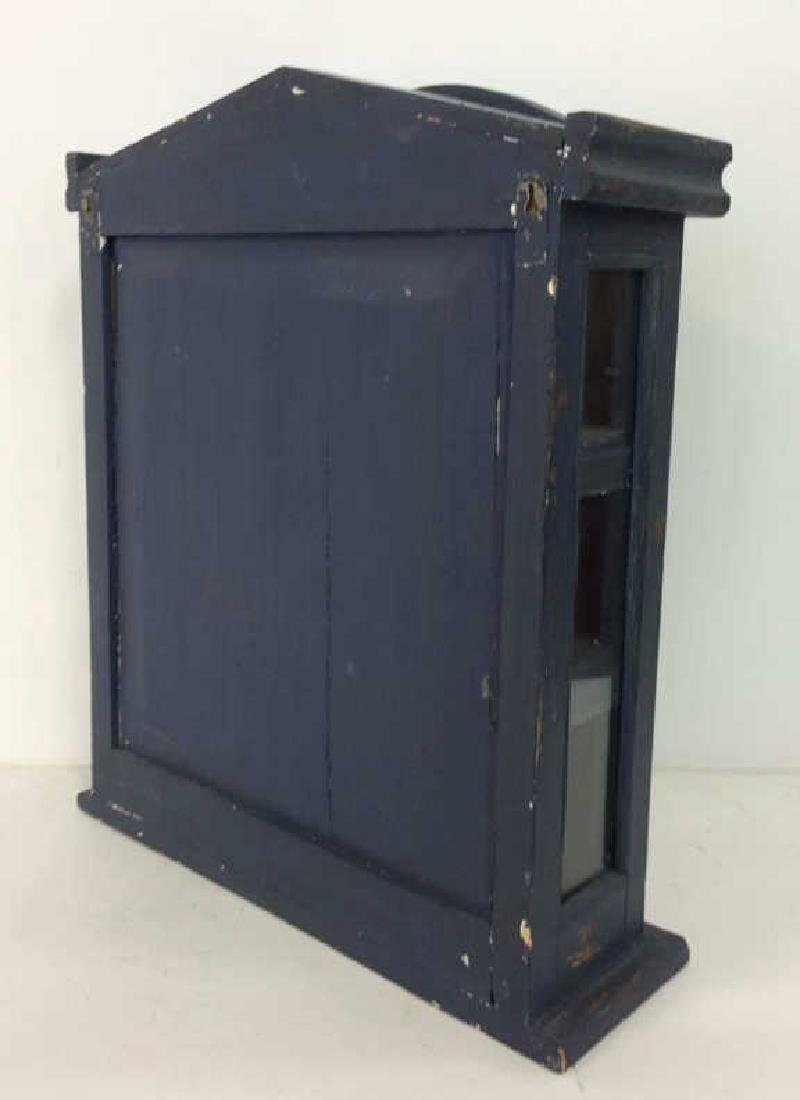 Navy Toned Wooden Trinket Case Cabinet W Window - 8