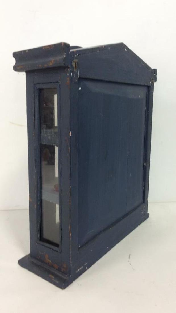 Navy Toned Wooden Trinket Case Cabinet W Window - 9