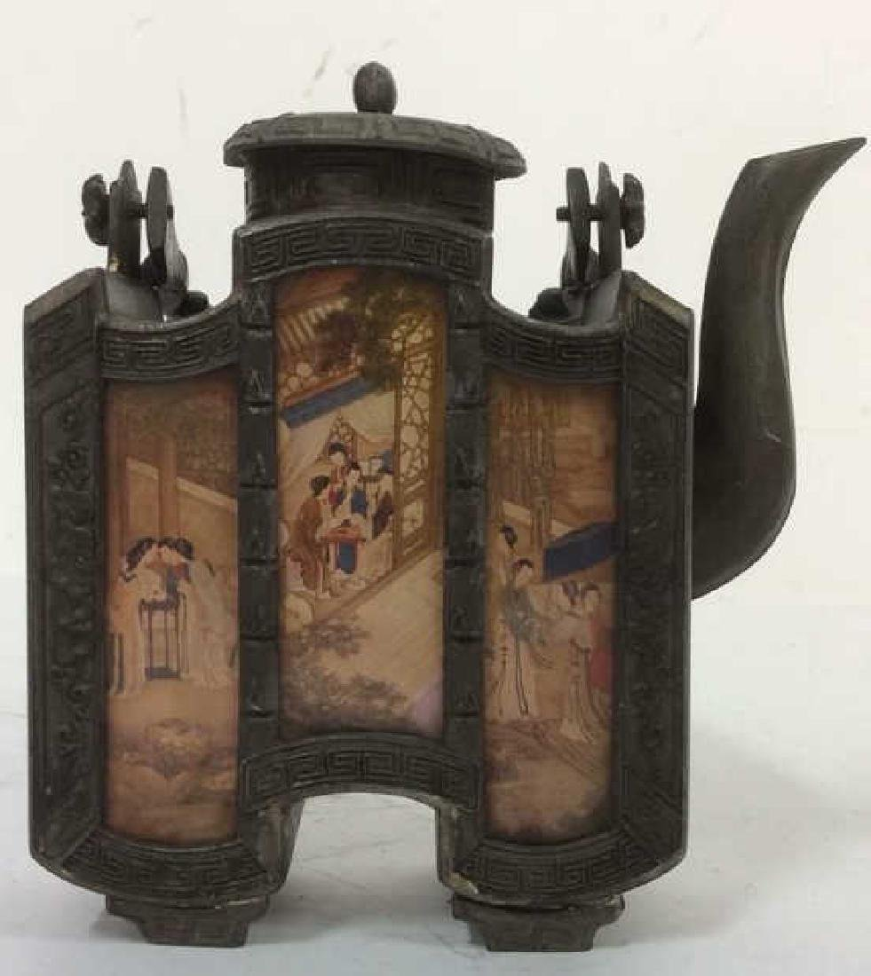 Asian Metal and Painted Panel Lidded Teapot