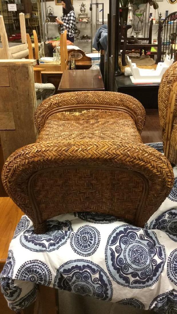Lot 2 Woven Wicker Armchair & Footrest - 10