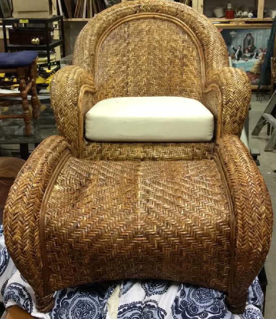 Lot 2 Woven Wicker Armchair & Footrest