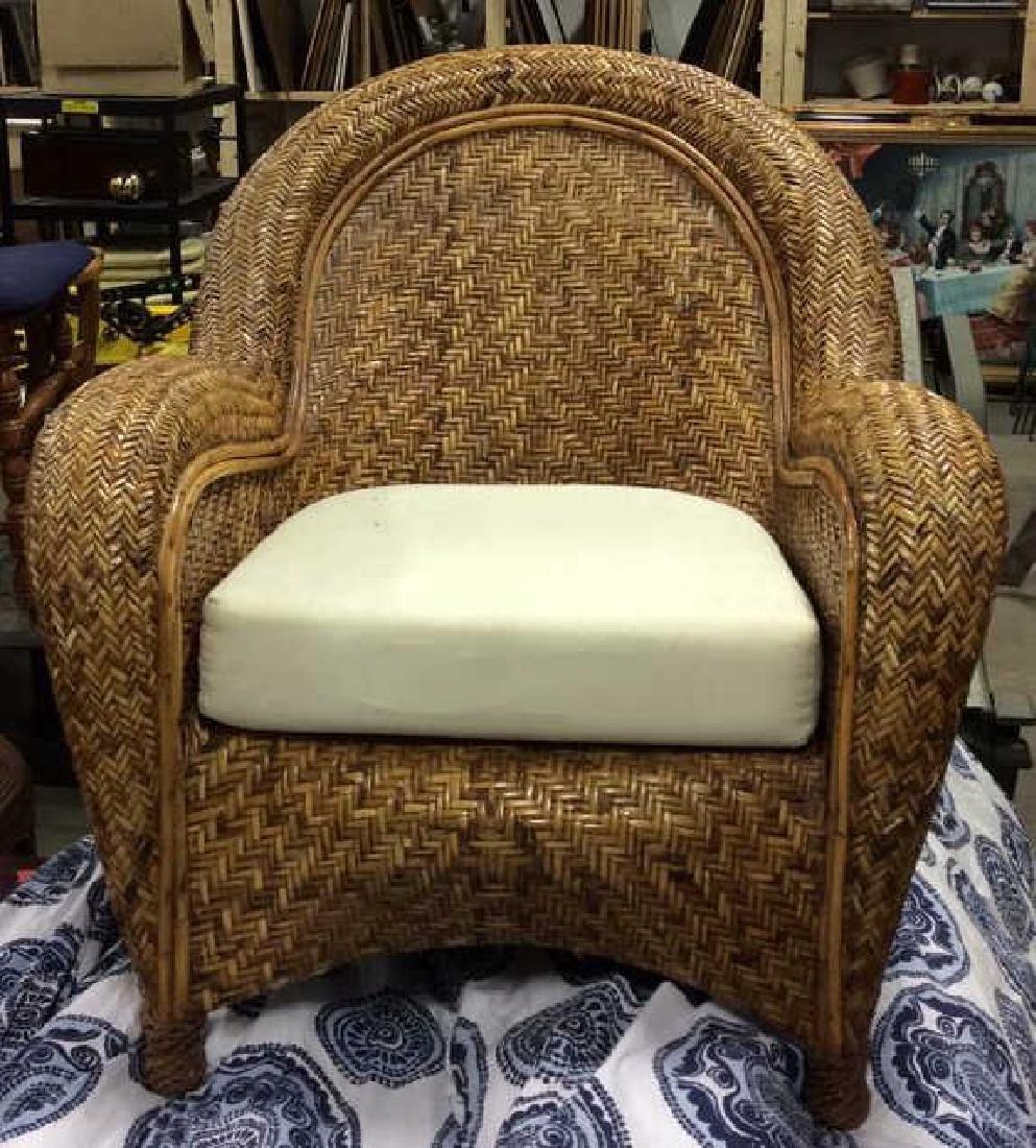 Lot 2 Woven Wicker Armchair & Footrest - 2