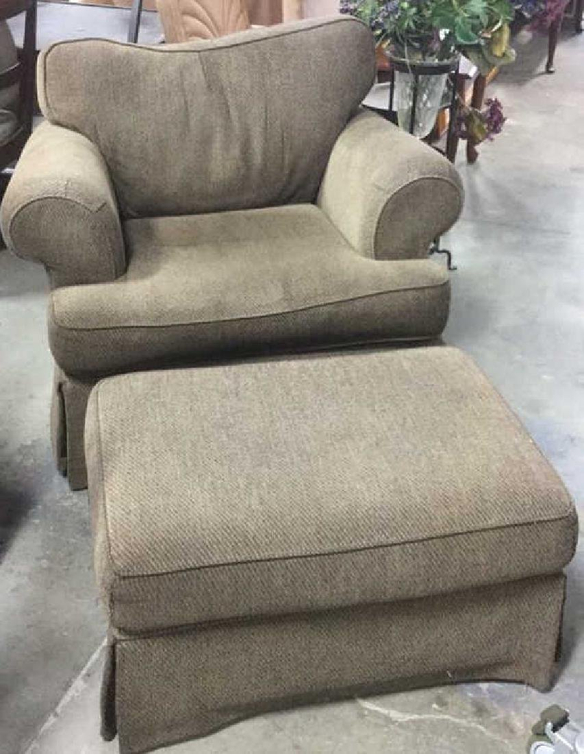Upholstered Cocoa Strie Chair And Matching Ottoman