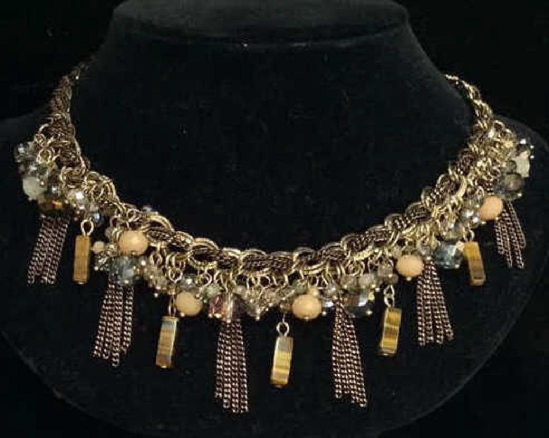 Natural Stone W a Cut Glass Beaded Necklace - 2