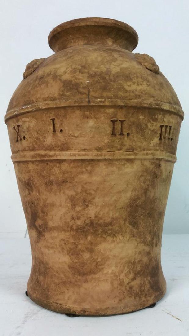 Roman Numeral Detailed Ceramic Pot