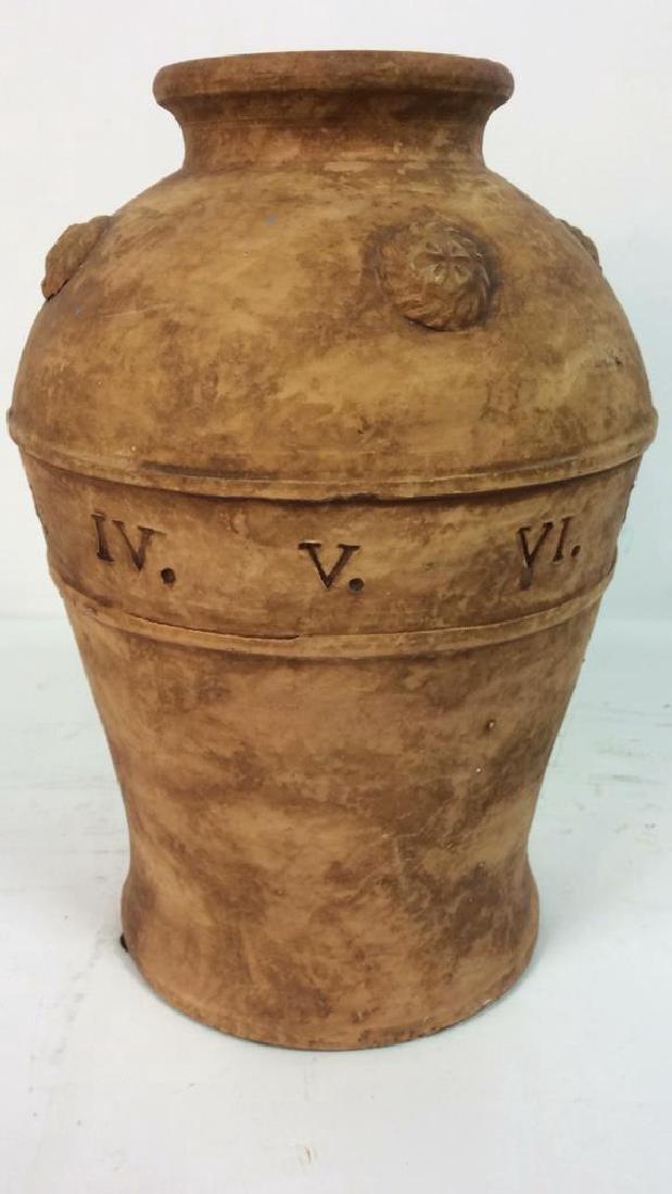 Roman Numeral Detailed Ceramic Pot - 9