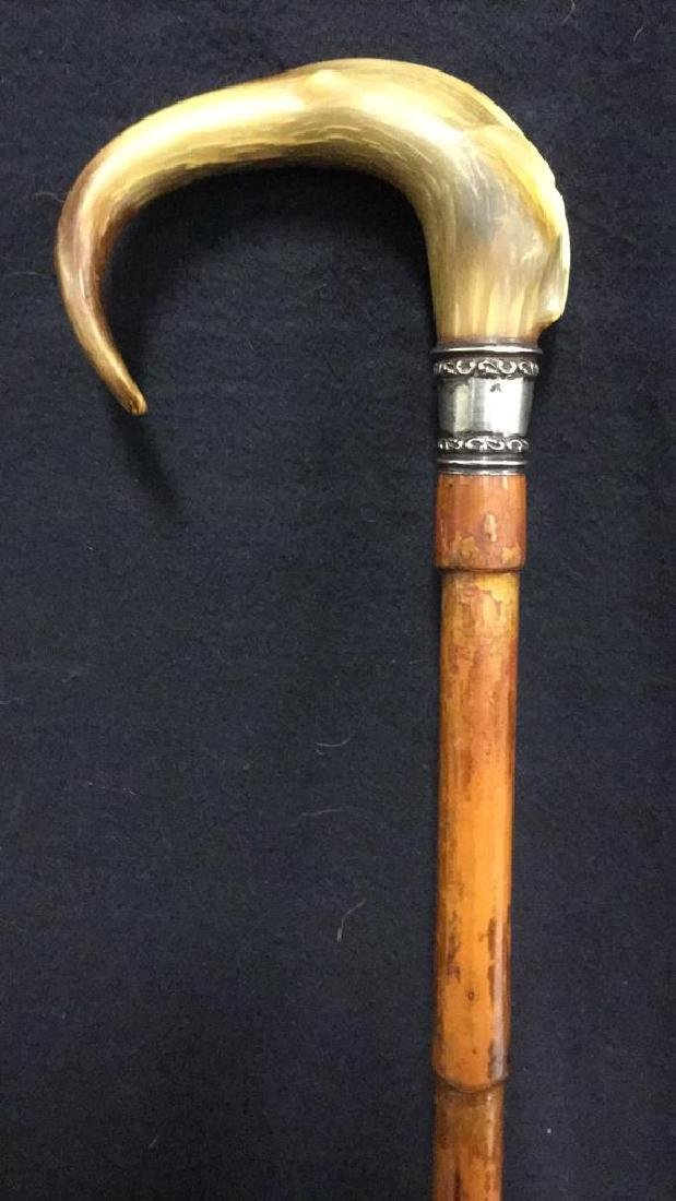Victorian Sterling & Horn Handled Bamboo Cane