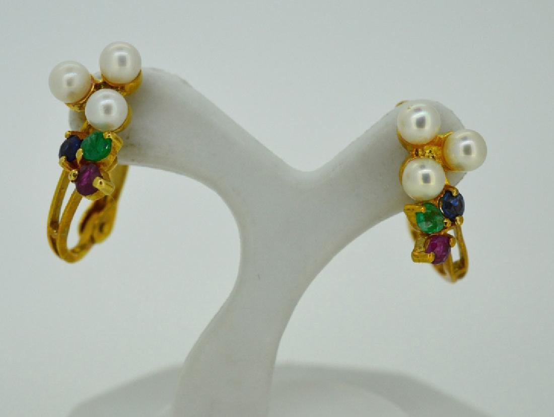 14k Yellow Gold & Multi Gemstone Pierced Earrings
