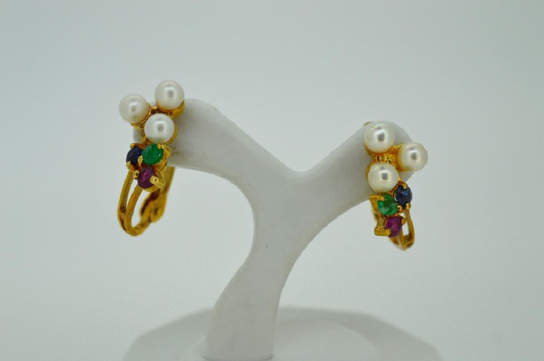 14k Yellow Gold & Multi Gemstone Pierced Earrings - 2