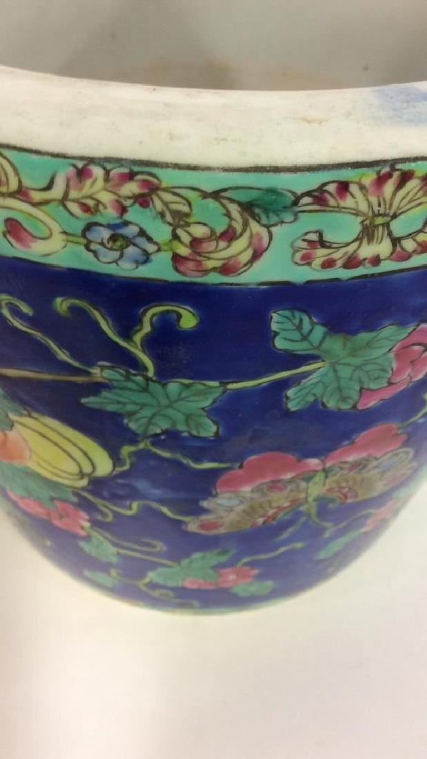 Antique Floral Detailed Painted Chinese Planter - 10