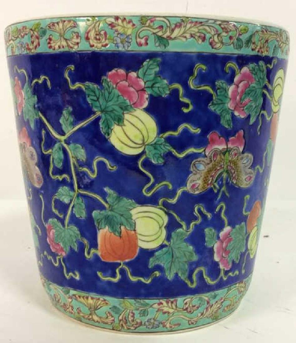 Antique Floral Detailed Painted Chinese Planter