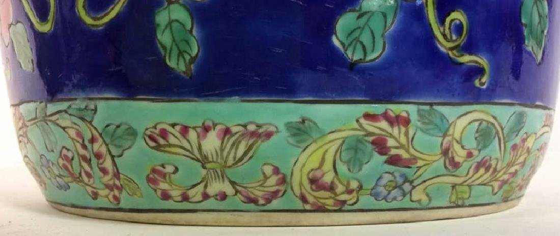 Antique Floral Detailed Painted Chinese Planter - 2