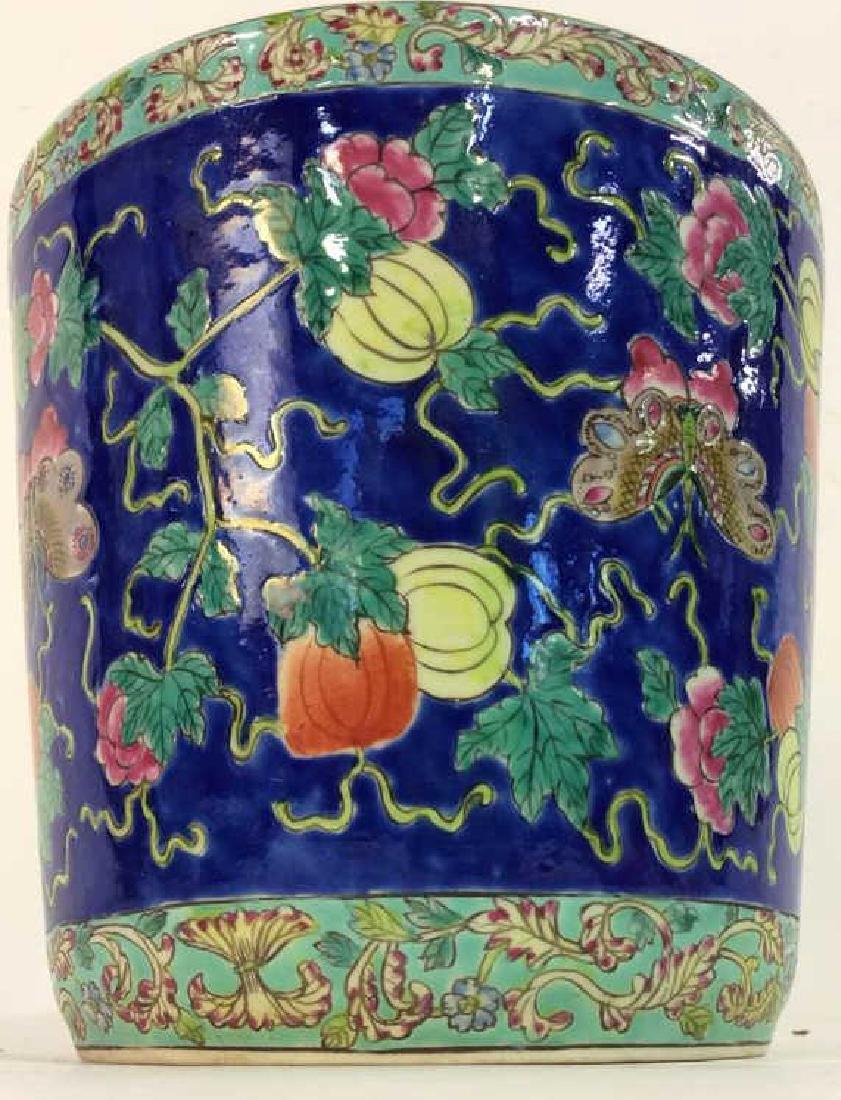 Antique Floral Detailed Painted Chinese Planter - 3
