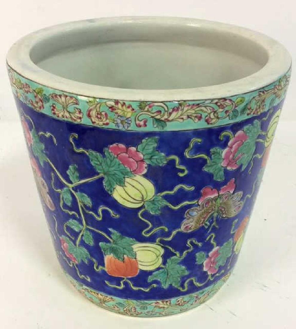 Antique Floral Detailed Painted Chinese Planter - 4