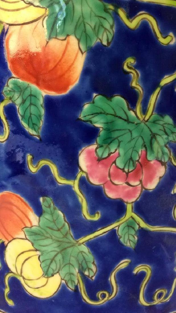 Antique Floral Detailed Painted Chinese Planter - 7