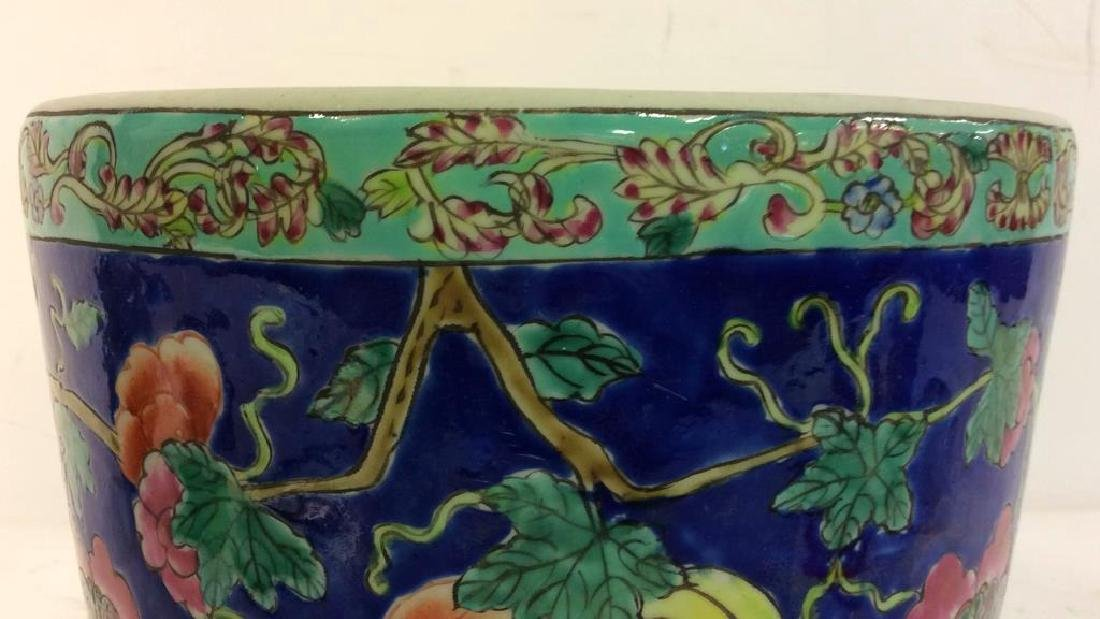 Antique Floral Detailed Painted Chinese Planter - 8