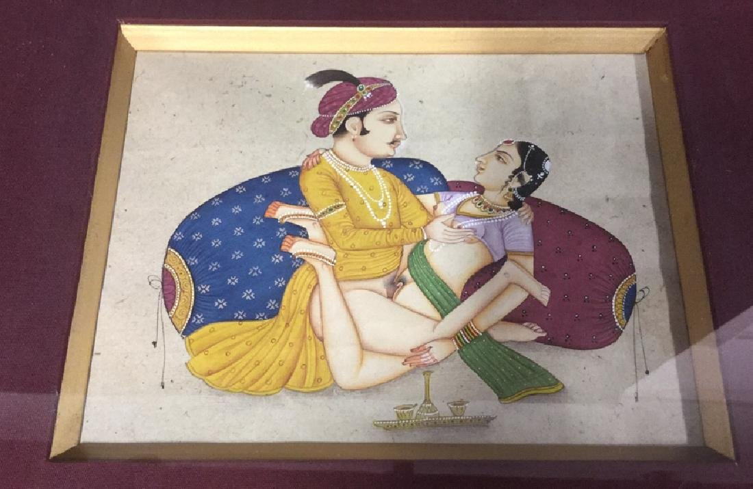 Lot 2 Erotic Manuscript Paintings Framed - 3