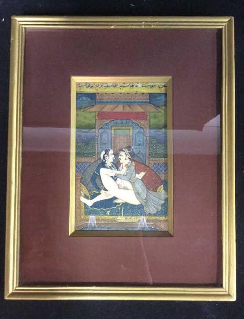 Lot 2 Erotic Manuscript Paintings Framed - 6