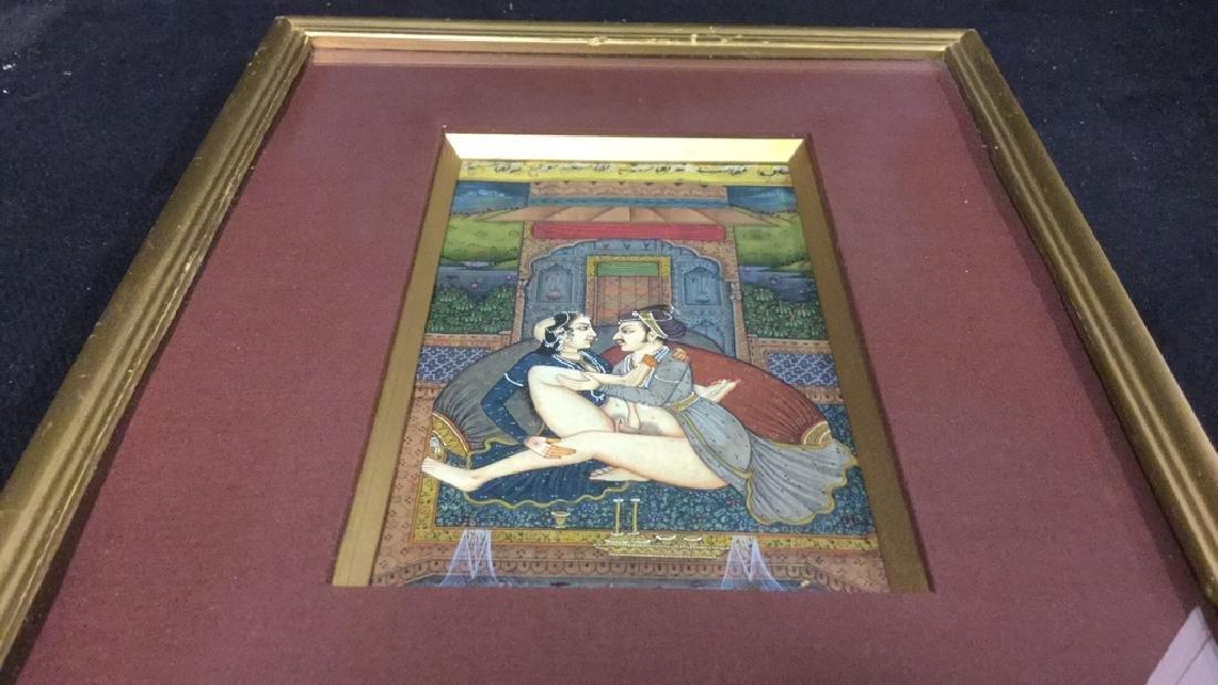Lot 2 Erotic Manuscript Paintings Framed - 7