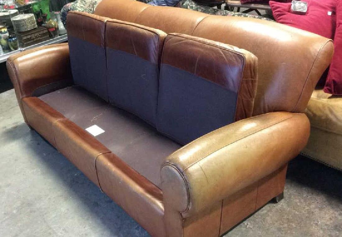 MITCHELL GOLD POTTERY BARN Leather Sofa - 8