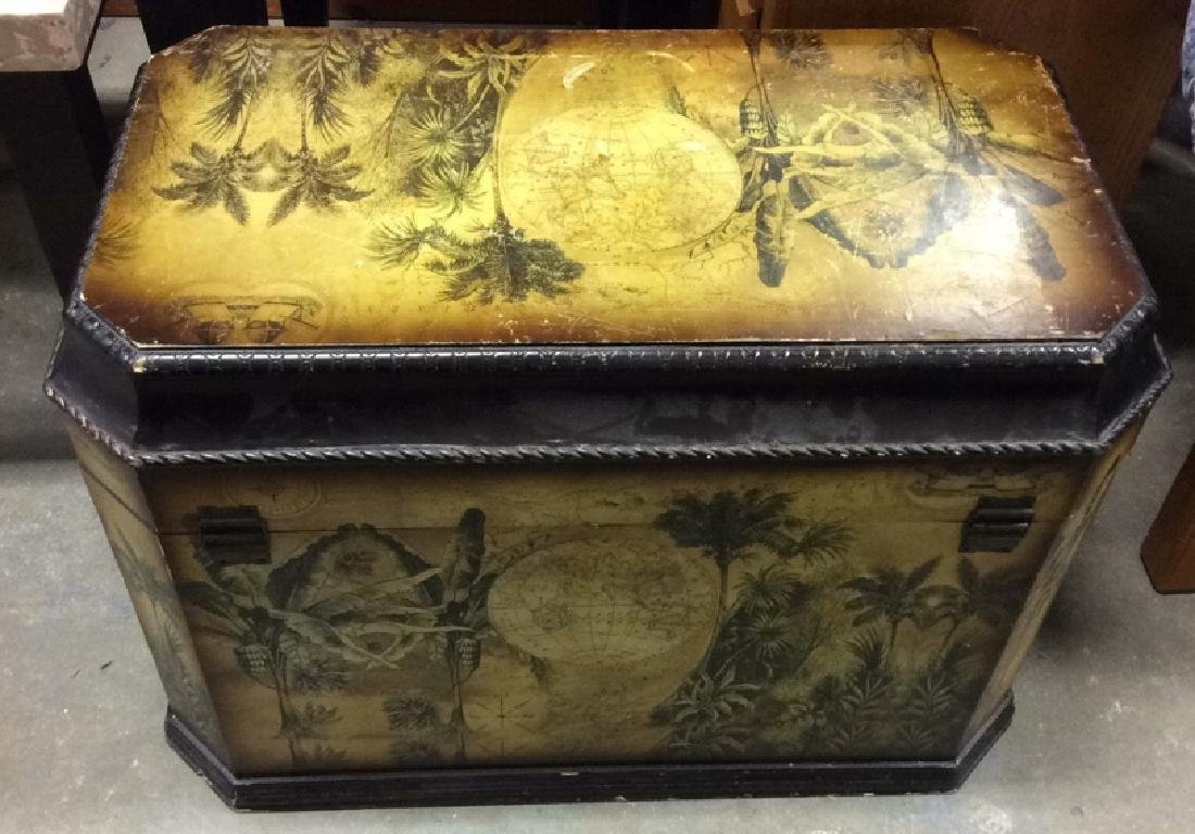Vintage Carved Painted Wooden Chest - 10