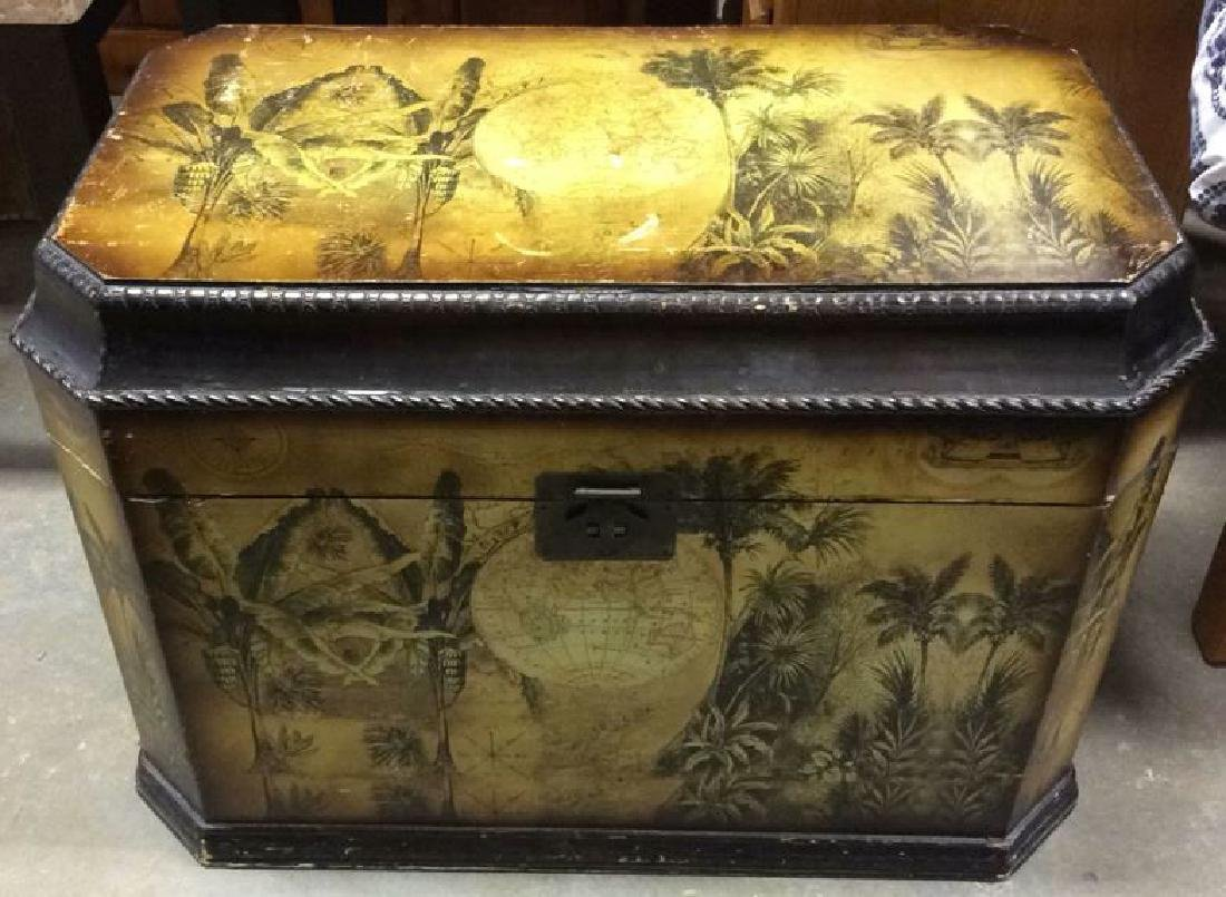 Vintage Carved Painted Wooden Chest