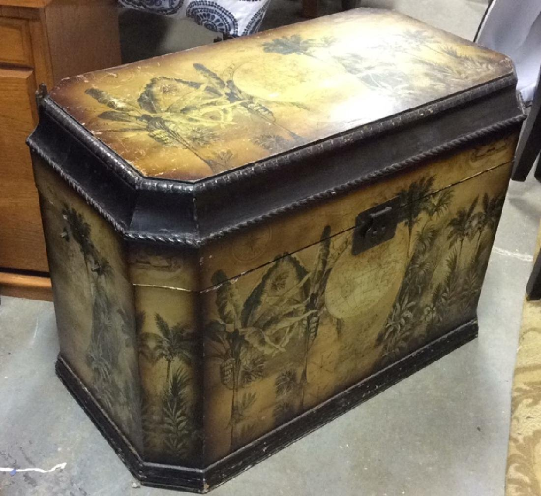 Vintage Carved Painted Wooden Chest - 4
