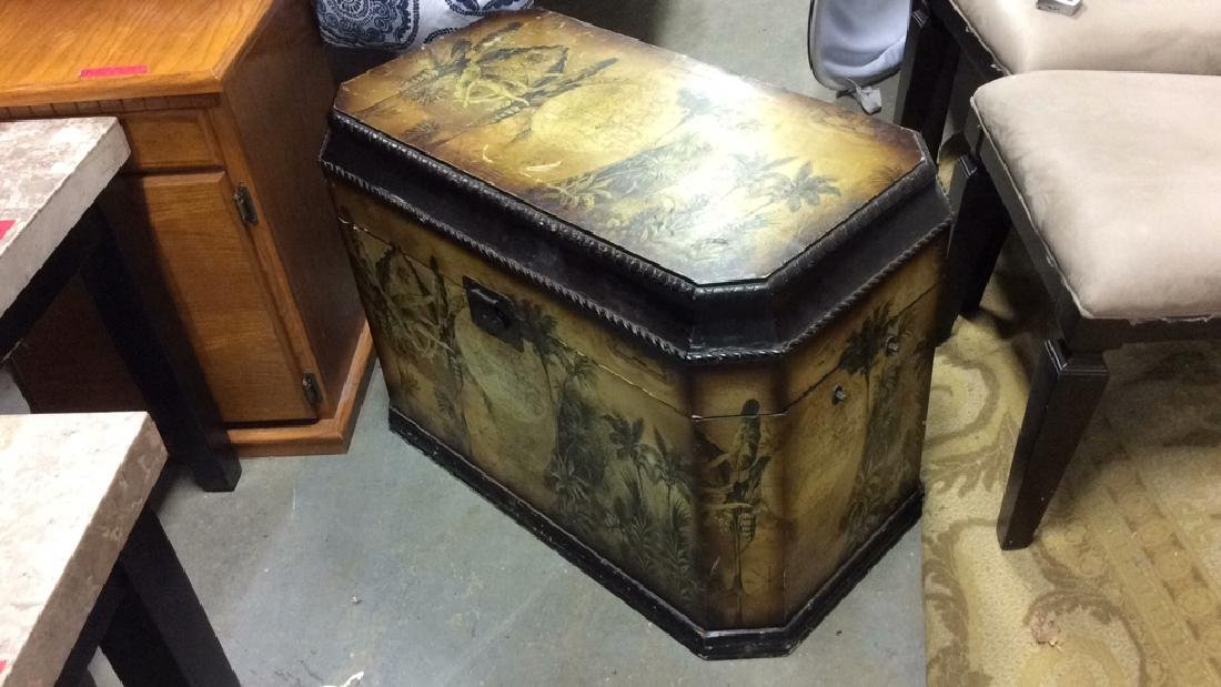 Vintage Carved Painted Wooden Chest - 5
