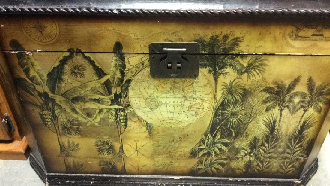 Vintage Carved Painted Wooden Chest - 6