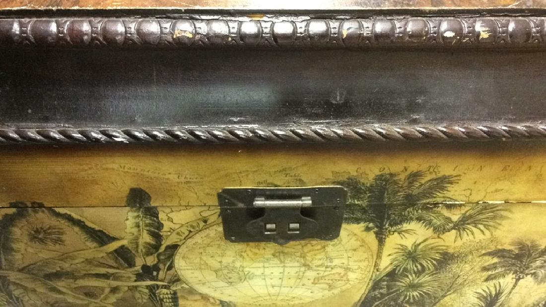 Vintage Carved Painted Wooden Chest - 9