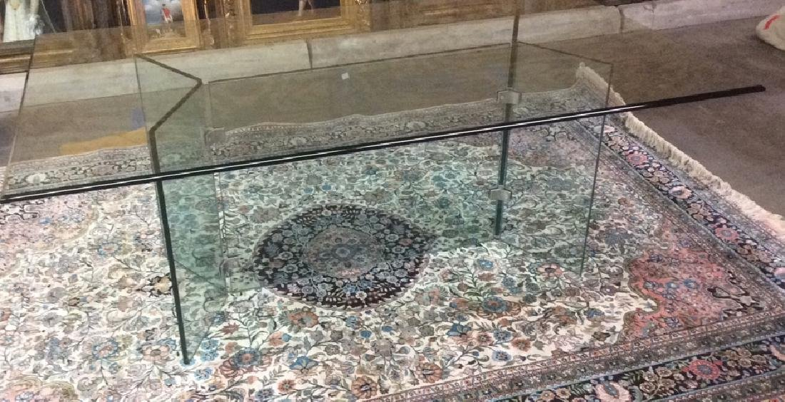 Retro 80's Glass Dining Table w C Base