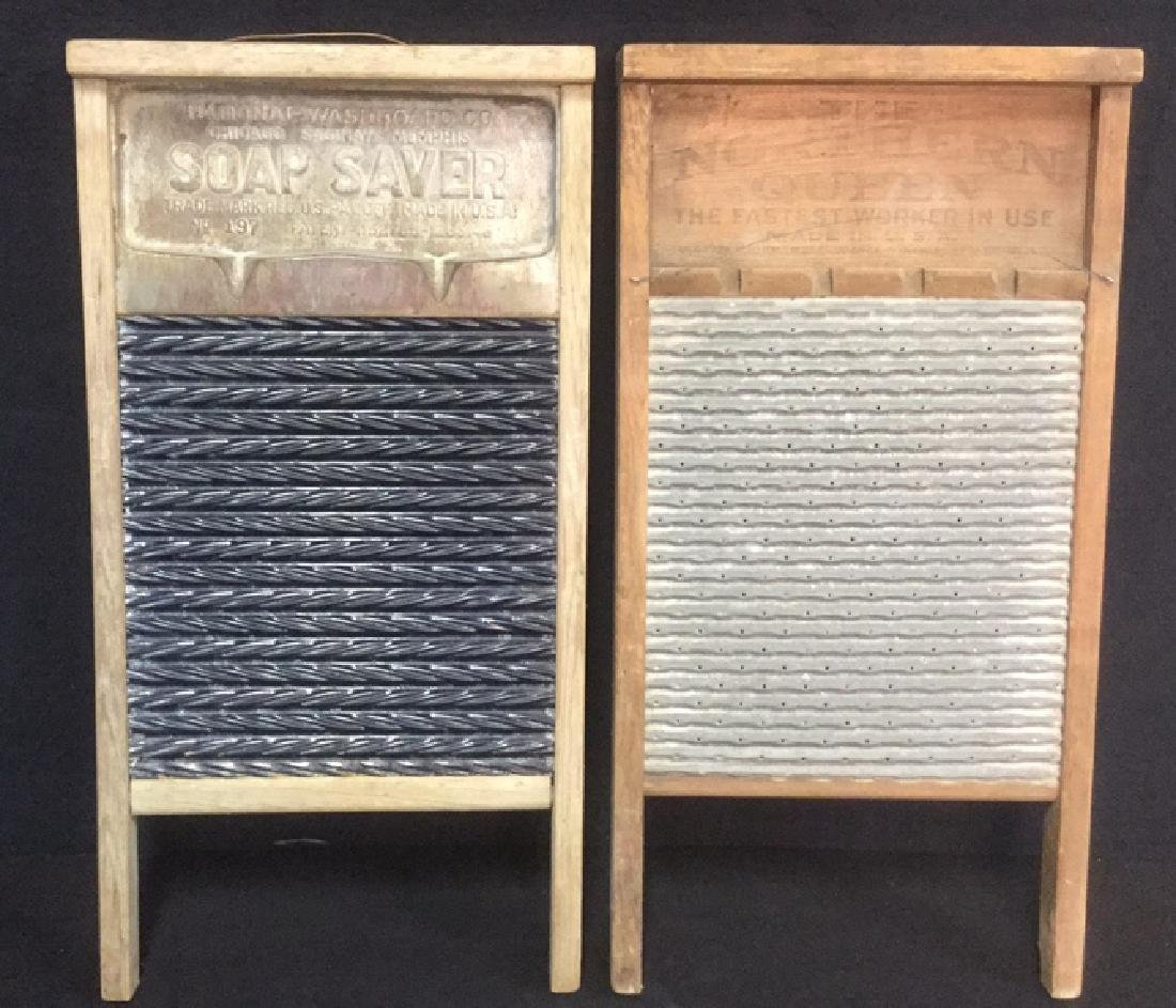 Lot 2 Antique Wood And Metal Washboards