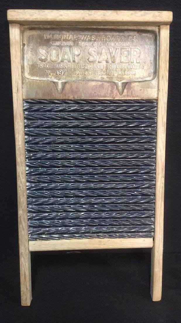 Lot 2 Antique Wood And Metal Washboards - 2