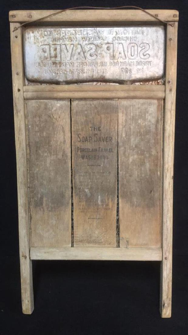 Lot 2 Antique Wood And Metal Washboards - 4
