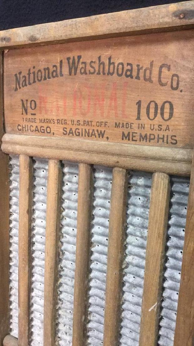 Lot 2 Antique Wood And Metal Washboards - 9