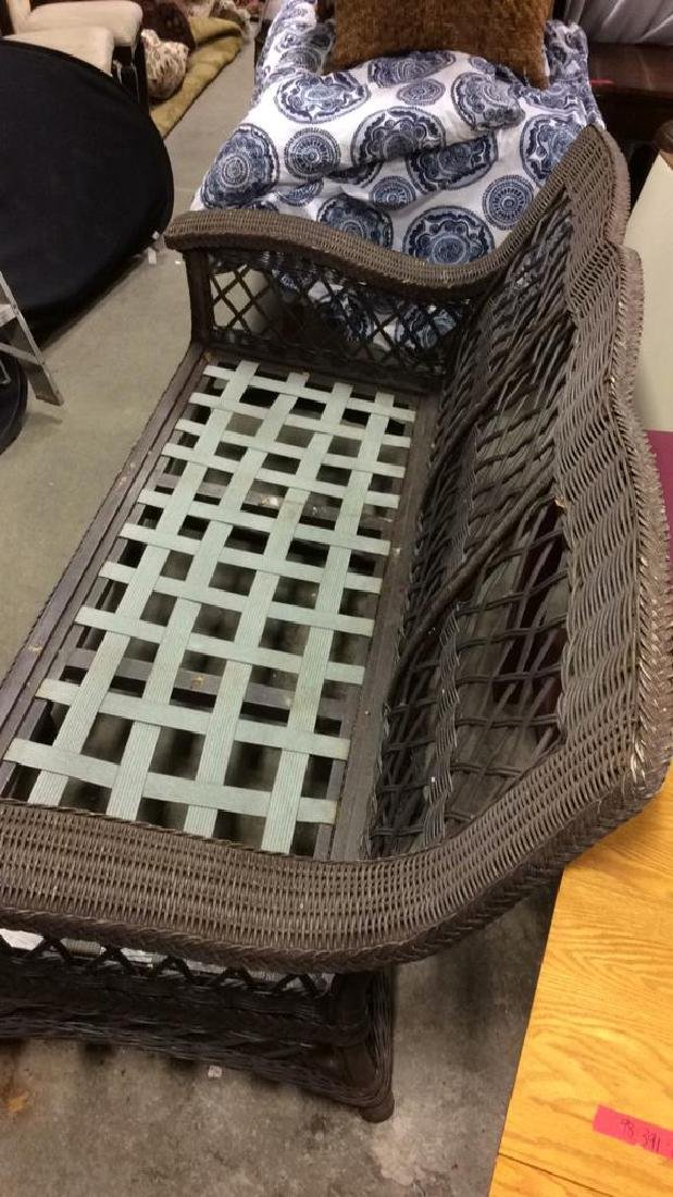 Brown Toned Outdoor Wicker 3 Person Sofa Seat - 3