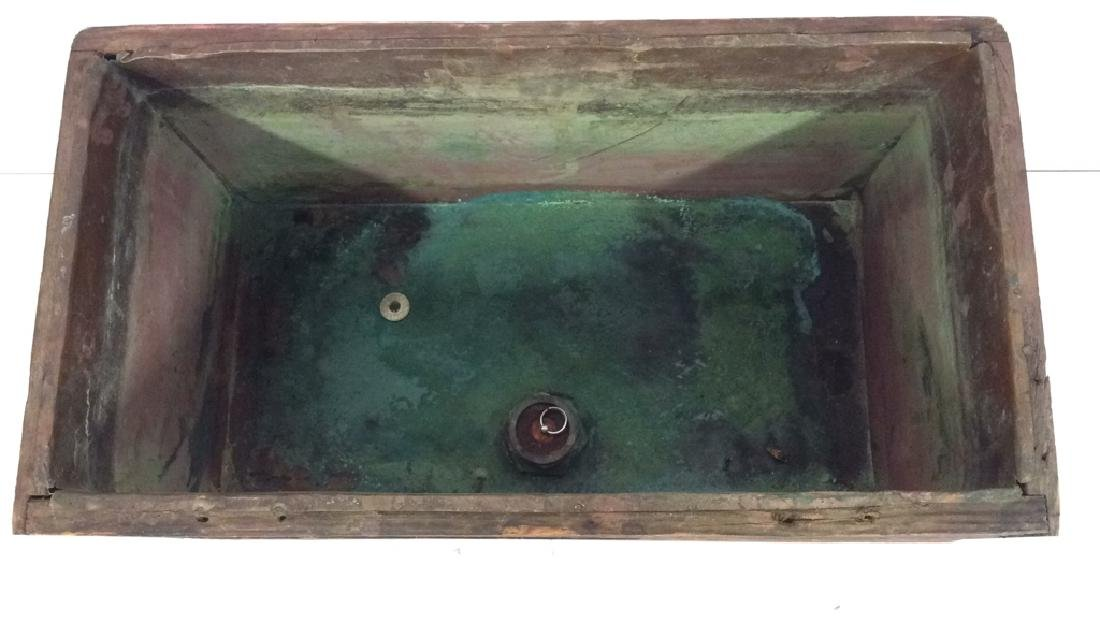 Antique Wooden Copper Toilet Tank upcycle Planter - 7