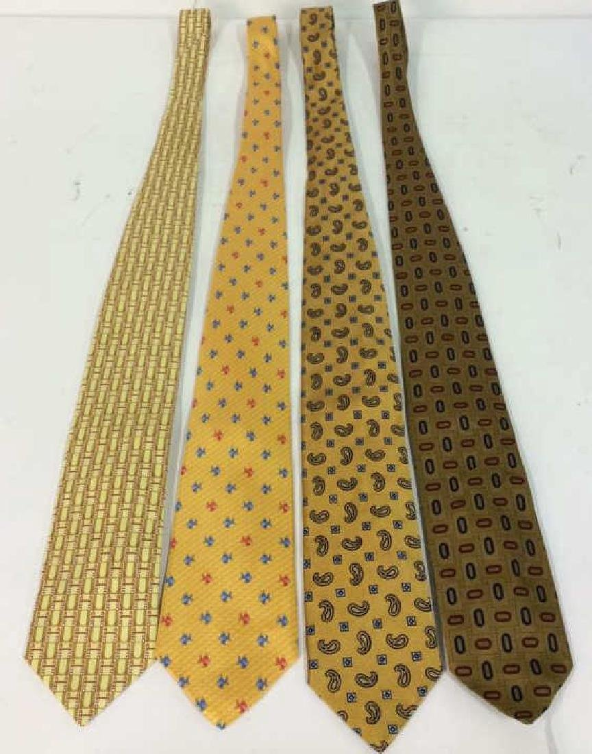 Lot 4 Assorted Gold Toned Ties W Patterns