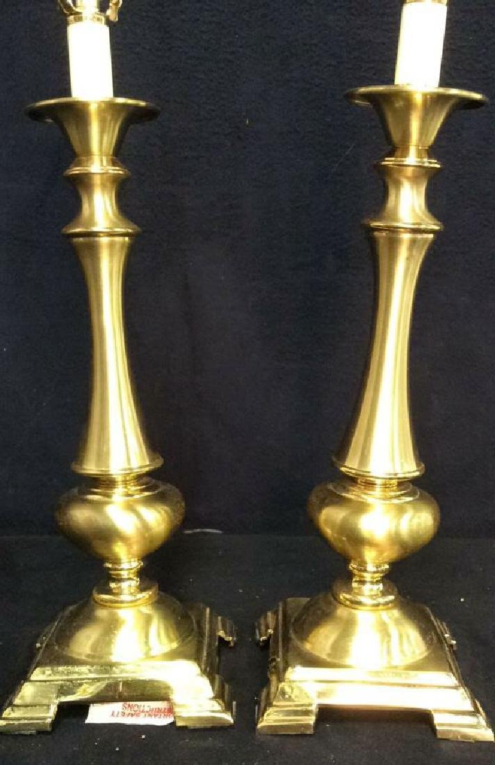 Pair Gold Toned Metal Lamps