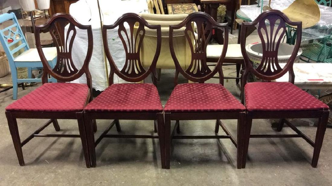 Lot 4 Wooden Floral Detailed Side Chairs