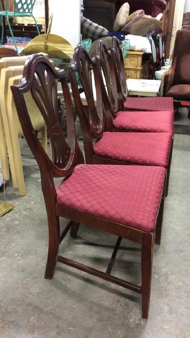 Lot 4 Wooden Floral Detailed Side Chairs - 2