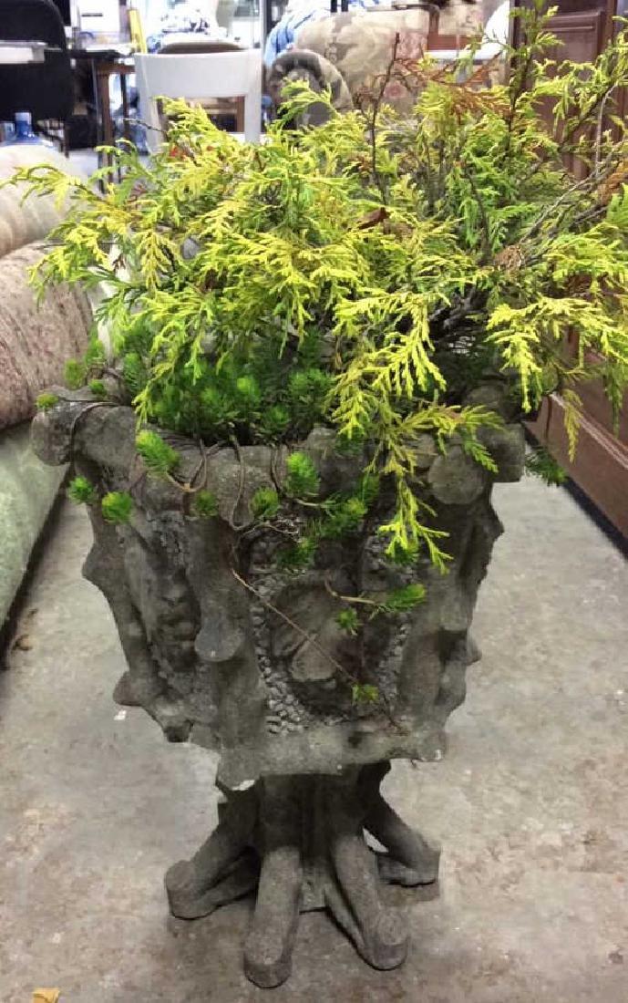 Faux Bois Pedestal Cement Planter