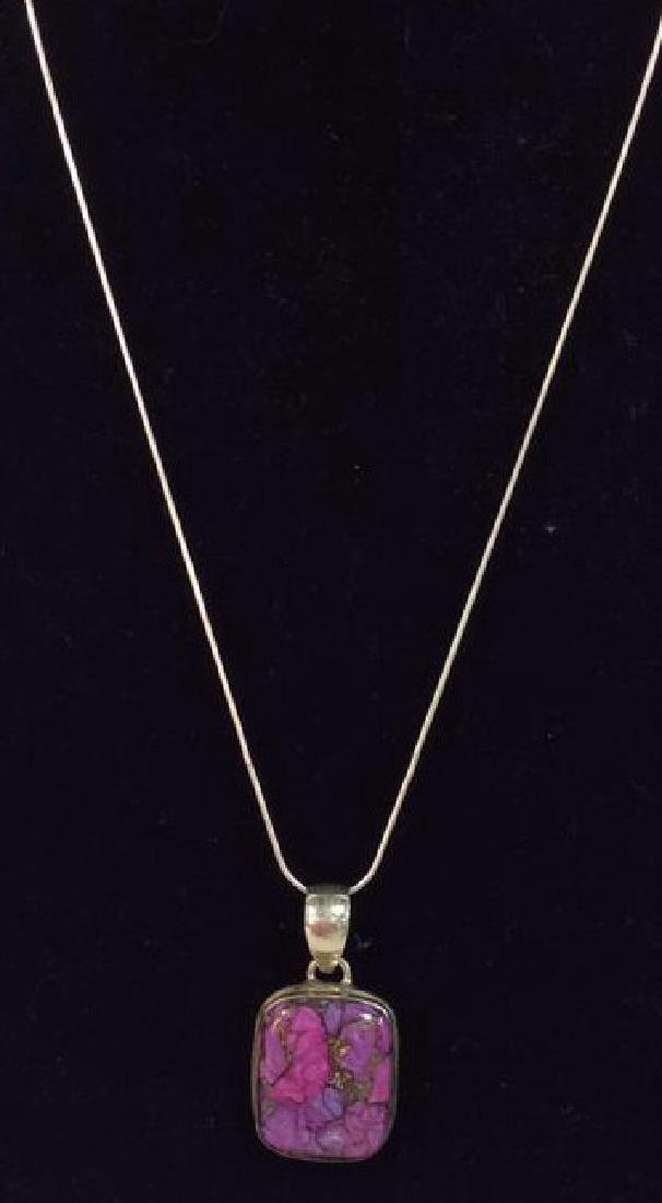 Sterling Silver Necklace W Natural Stone Pendant - 2