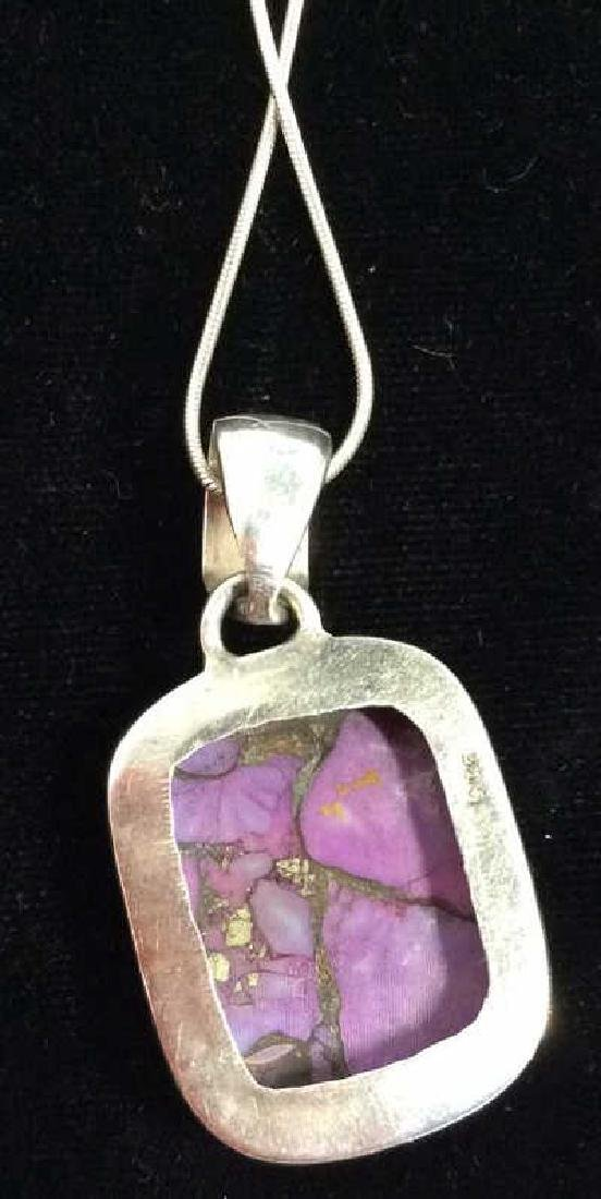 Sterling Silver Necklace W Natural Stone Pendant - 5