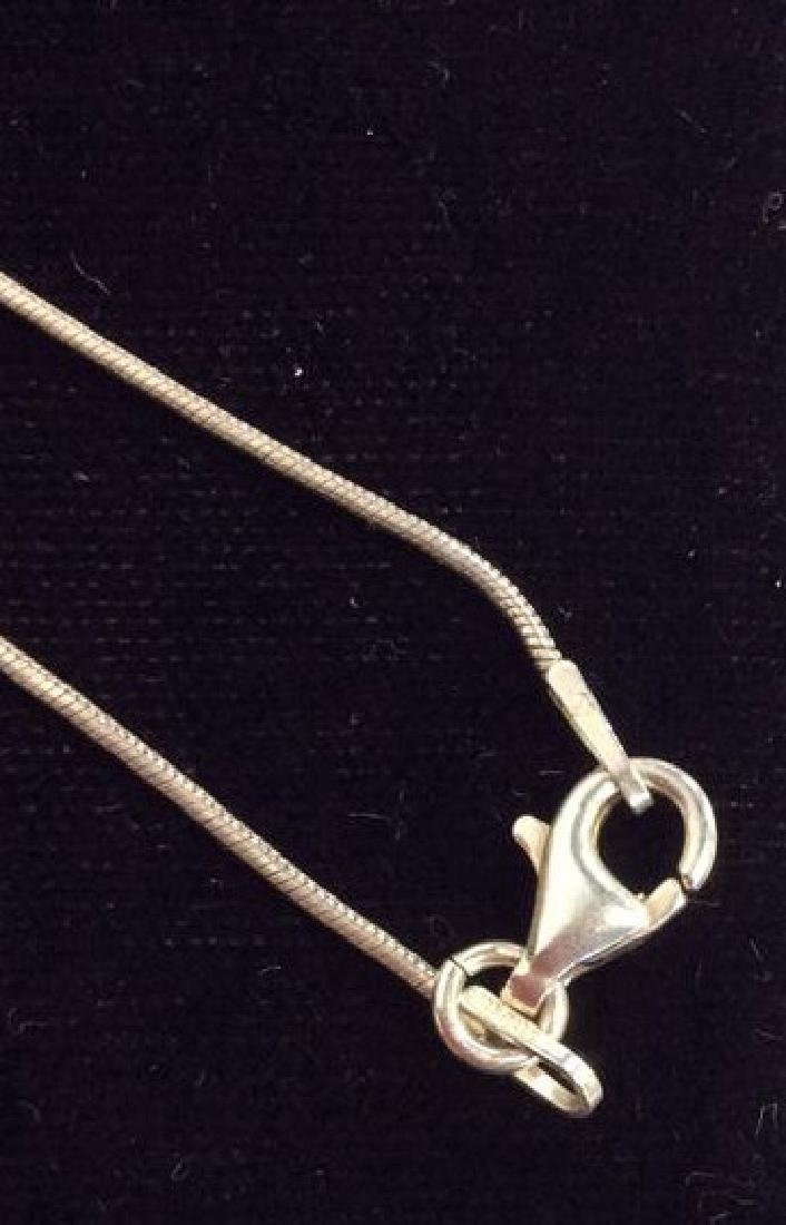 Sterling Silver Necklace W Natural Stone Pendant - 7