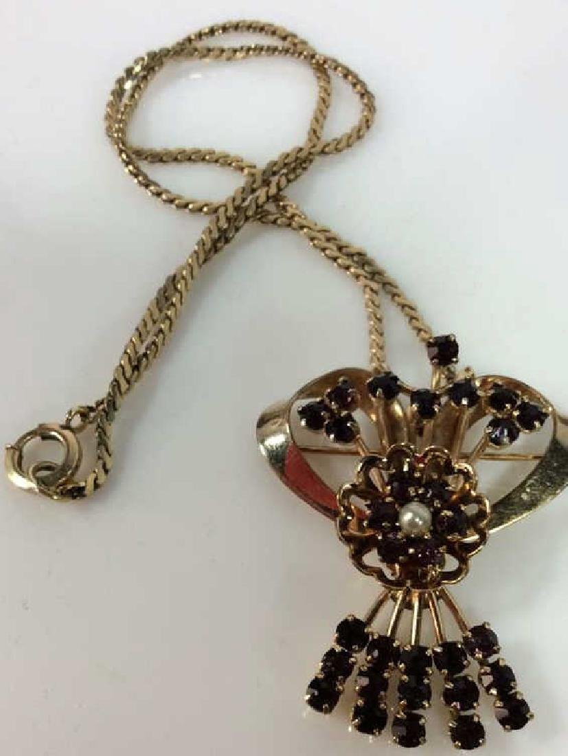 RAQUEL 1/20 12k GF Vintage Pin Pendant Necklace - 5