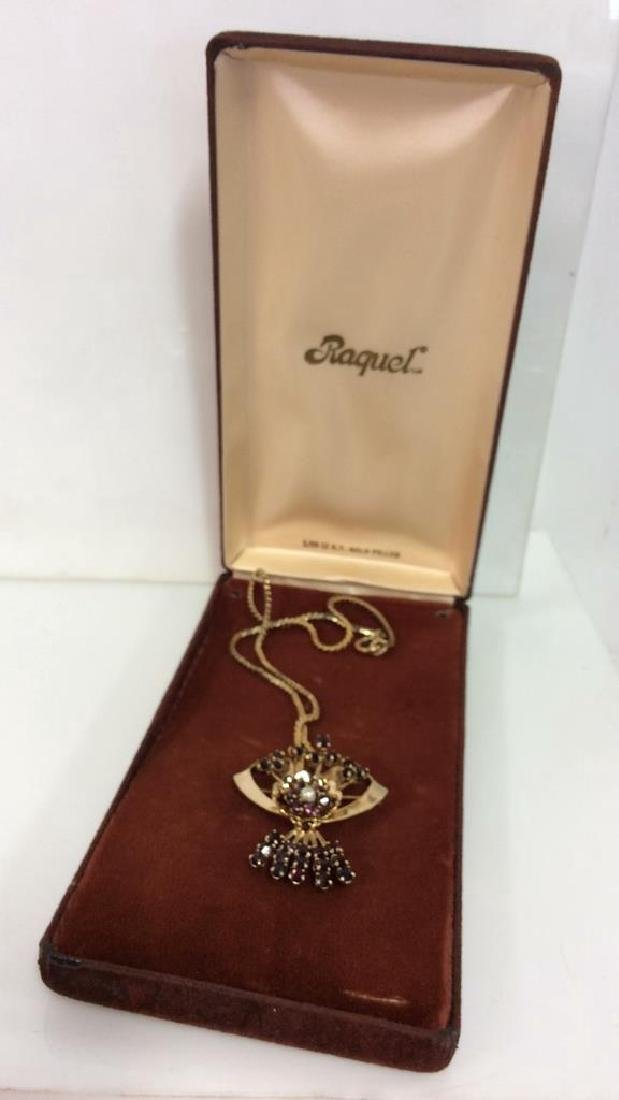 RAQUEL 1/20 12k GF Vintage Pin Pendant Necklace - 8