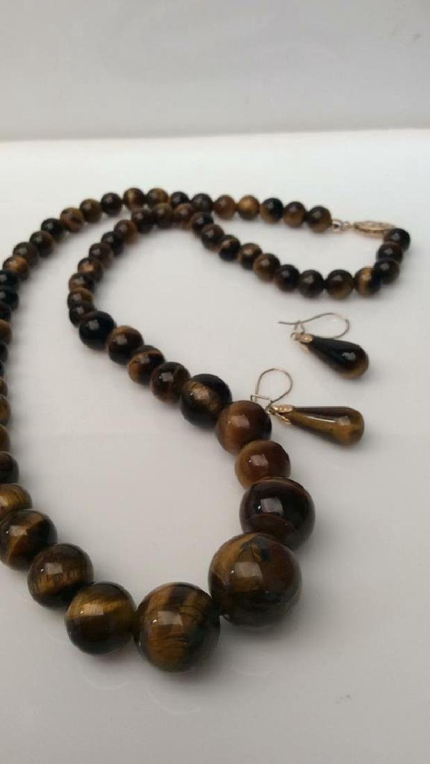 Set 2 Tigers Eye Jewelry Necklace W Earrings - 10