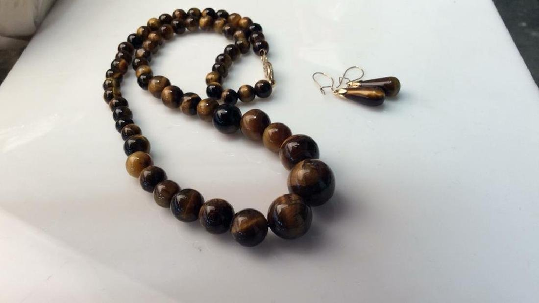 Set 2 Tigers Eye Jewelry Necklace W Earrings - 11